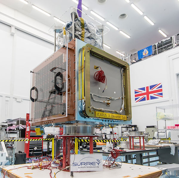 An Earth Observation satellite being constructed (courtesy:  SSTL.)
